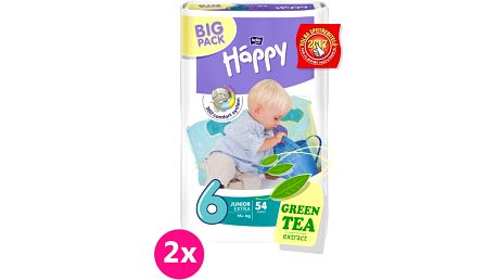 2x BELLA HAPPY Junior 6, 16+ kg, extra Big Pack, 54 ks - jednorázové pleny