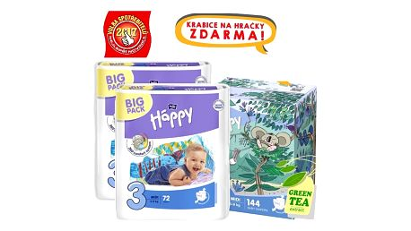 BELLA HAPPY Midi 3 Big TOY BOX (5-9 kg), 144 ks - jednorázové pleny