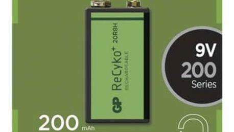 Baterie nabíjecí GP 9V. 200mAh, Ni-MH, krabička 1ks (1033511030) zelený
