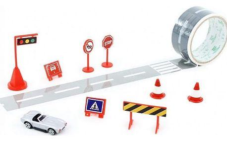 Lepící silnice s autíčkem a dopravním značením