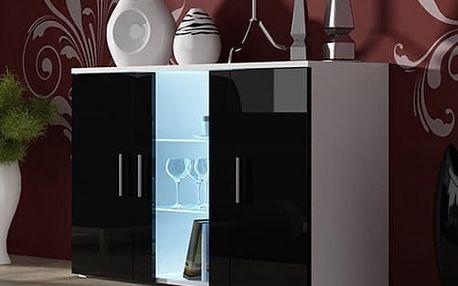 Soho - Obýváková komoda, prosklená (bílá mat/černá vysoký lesk)