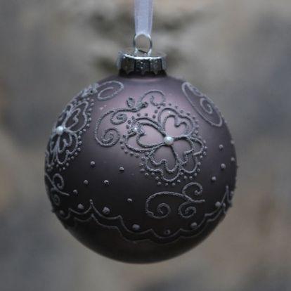 Chic Antique Vánoční baňka Matte pattern Antique mocca, šedá barva, hnědá barva, sklo