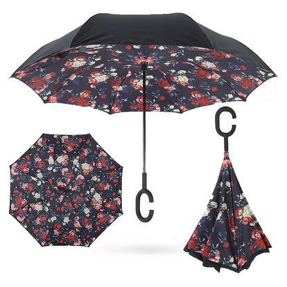 Deštník s opačným otevíráním červené květy