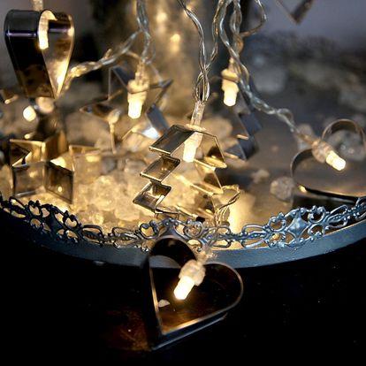 STAR TRADING Světelný řetěz s vykrajovátky, stříbrná barva, kov, plast