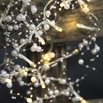 STAR TRADING Světelný LED řetěz Pearl White, bílá barva, kov
