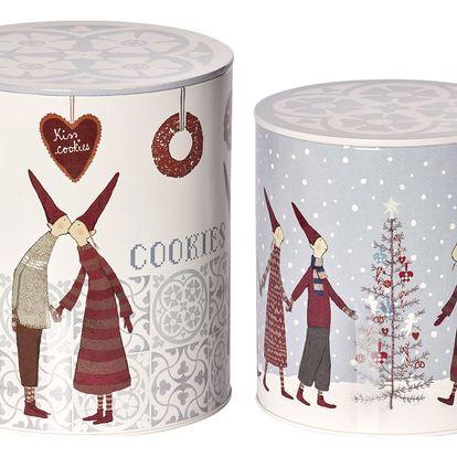 Maileg Vánoční box Pixy Cookies Light Menší, šedá barva, bílá barva, kov