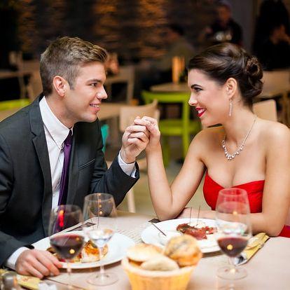 3chodové menu pro 2 osoby s lahví vína