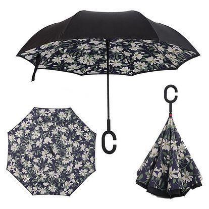 Deštník s opačným otevíráním bílé květy