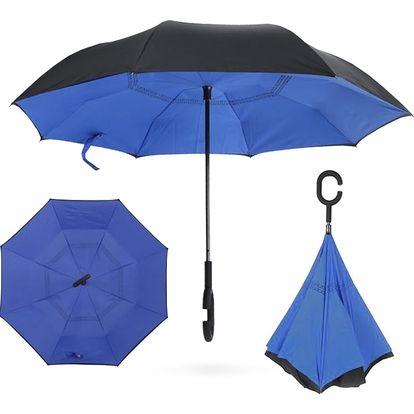 Deštník s obráceným otevíráním modro-černý