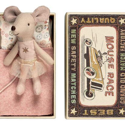 Maileg Myška v krabičce Little sister in box, růžová barva
