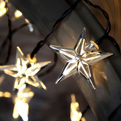 STAR TRADING Světelný LED řetěz s hvězdičkami Starling, stříbrná barva, kov, plast