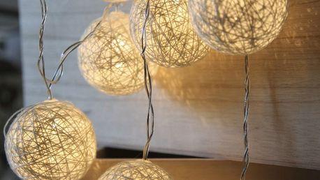 STAR TRADING Světelný lampionový řetěz Jolly White, bílá barva, plast, textil