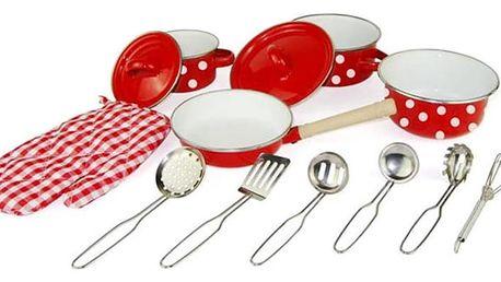 WOODY Červené kuchyňské nádobí s chňapkou 13 dílů