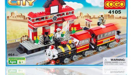 COGO City Stavebnice Vláček a stanice - 464 ks