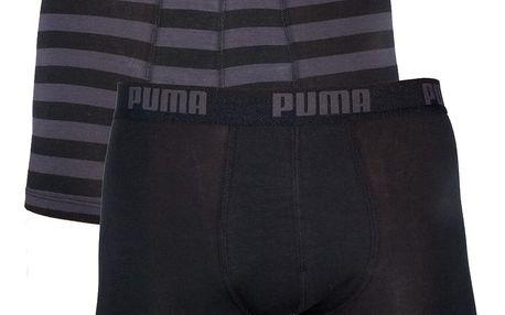 2PACK Pánské Boxerky Puma Black Stripes Long S