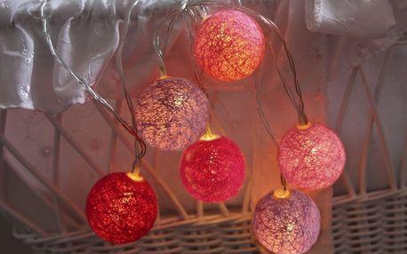 STAR TRADING Dekorativní svítící řetěz White Pink Lights, růžová barva, textil