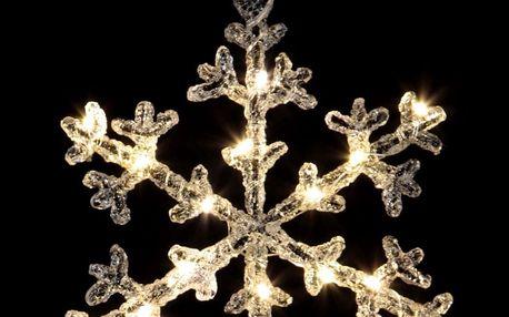 STAR TRADING Dekorativní svítící vločka Icy 19 cm, čirá barva, plast