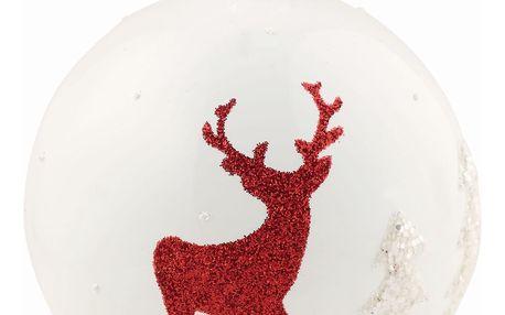 GREEN GATE Vánoční baňka Deer, červená barva, bílá barva, sklo