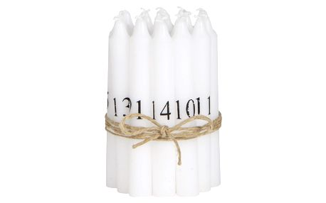 IB LAURSEN Adventní svíčky 1-24 White/black, bílá barva, vosk