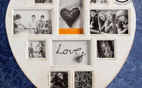 Patinovaný Retro Fotorámeček Srdce 10 fotek