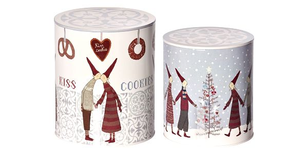 Maileg Vánoční box Pixy Cookies Light Větší, šedá barva, bílá barva, kov