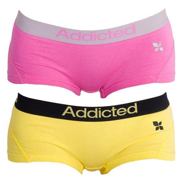 2PACK Dámské Kalhotky Addicted Růžová Žlutá S