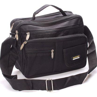 Pánská látková taška přes rameno černá - Sanchez Riccardo černá