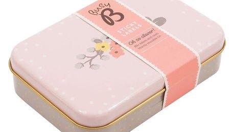 Busy B Plechová krabička se samolepkami Pink, růžová barva, kov