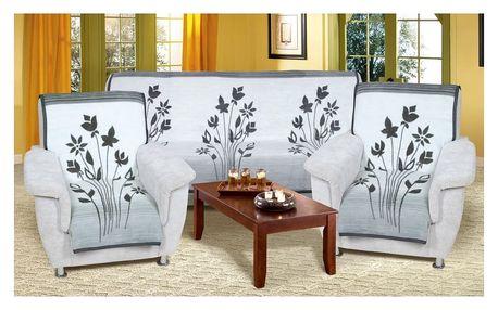 Bellatex Přehozy na sedací soupravu Karmela Plus Květ šedá 3+1+1