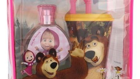 Disney Masha and The Bear dárková kazeta toaletní voda 50 ml + kelímek na pití s brčkem + kosmetická taška