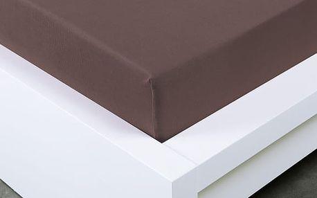 XPOSE ® Jersey prostěradlo Exclusive dvoulůžko - tmavě hnědá 200x200 cm