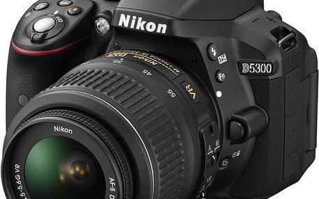 Nikon D5300 + 18-55 VR + 70-300 VR, černá - VBA370K015 + Spací pytel Alpine Pro Saltan v ceně 999 Kč