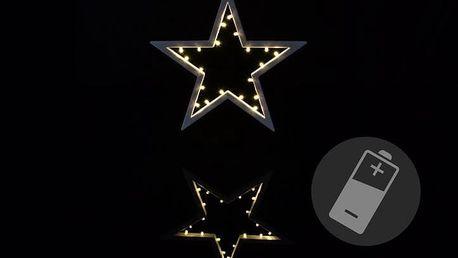 Nexos 33221 Vánoční dekorace - hvězda - 20 LED, teplá bílá