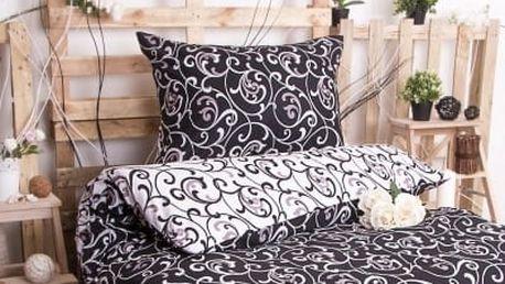 XPOSE ® Prodloužené bavlněné povlečení ELIZABETH DUO EXCLUSIVE - černá 140x220, 70x90