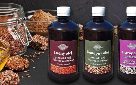 Ostropestřcový, lněný nebo konopný olej