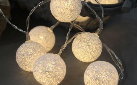 STAR TRADING Dekorativní svítící řetěz White Lights, bílá barva, textil
