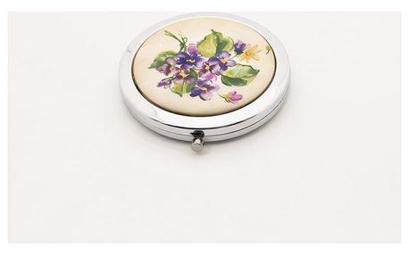 Kapesní kosmetické zrcátko Retro Flowers fialka