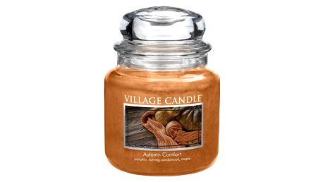 VILLAGE CANDLE Svíčka ve skle Autumn Comfort - střední, oranžová barva, hnědá barva, sklo, vosk
