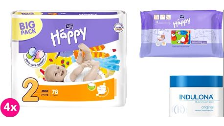 4x BELLA HAPPY Mini 2 pleny (3-6 kg) 78 ks + Indulona Tělový krém 250 ml + Happy Wipes 24 ks