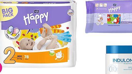 4x BELLA HAPPY Mini 2 pleny (3-6 kg) 78 ks + Indulona Tělový krém 250 ml + Happy Wipes 24 ks