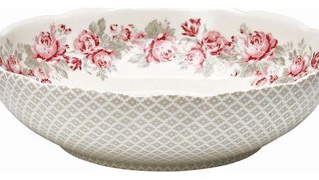 GREEN GATE Salátová mísa Shirley linen, růžová barva, šedá barva, porcelán