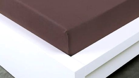 XPOSE ® Jersey prostěradlo Exclusive - tmavě hnědá 120x200 cm