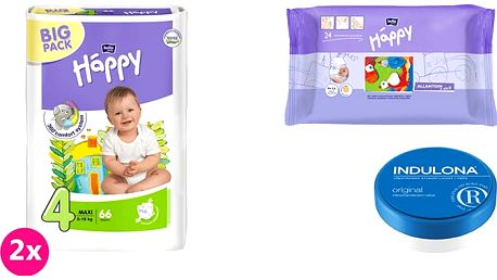 2x BELLA HAPPY Maxi 4 pleny (8 -18kg) 66 ks + Indulona Tělový krém 75 ml + Happy Wipes 24 ks
