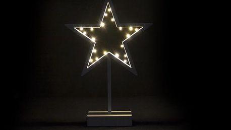 Nexos 28280 Vánoční dekorace - svítící hvězda na stojánku - 38 cm, 20 LED diod