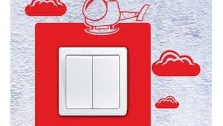 Smolepka na zeď Samolepka na vypínač - Vrtulník