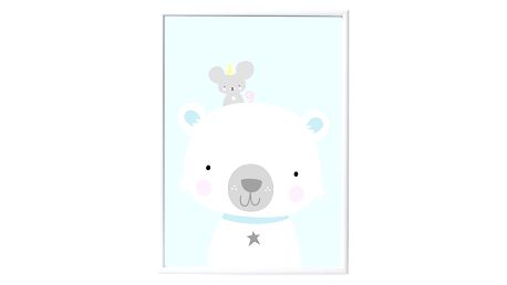 A Little Lovely Company Dětský plakát Polar bear & co. 50x70 cm, modrá barva, papír