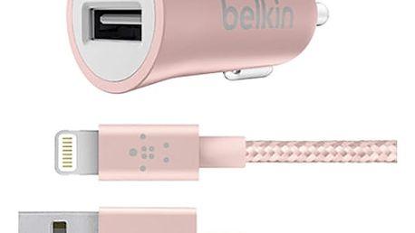 Belkin USB nabíječka do auta 2,4A/5V MIXIT Metallic + Lightning kabel - růžově zlatá - F8J186bt04-C00