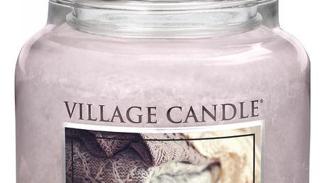 VILLAGE CANDLE Svíčka ve skle Cozy Cashmere - střední, růžová barva, fialová barva, sklo, vosk