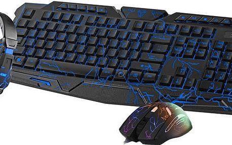 Set KB, myš a sluchátka Yenkee AMBUSH, černý, CZ/SK - 98029676