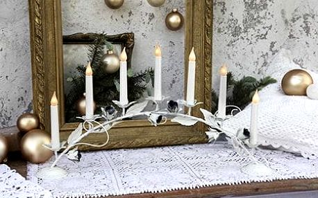 STAR TRADING Elektrický svícen Rosseta Bow, bílá barva, kov